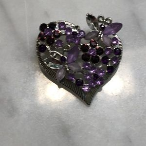 "Purple gem Brooch 1.50"" Heart shape"